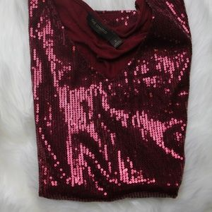 The Limited Maroon Sequin Short Sleeve Top XS